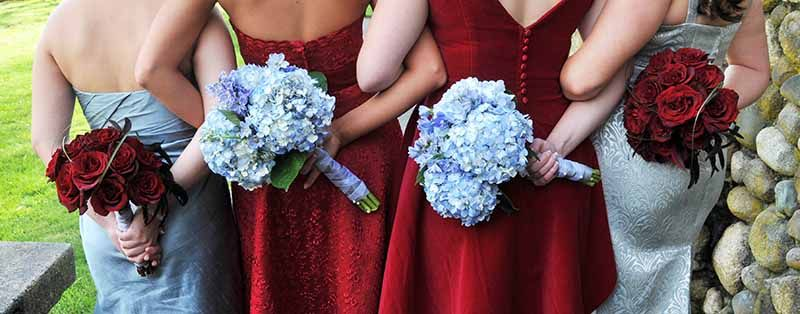 Cranberry Tiffany Blue Coordinated Bridesmaid Dresses