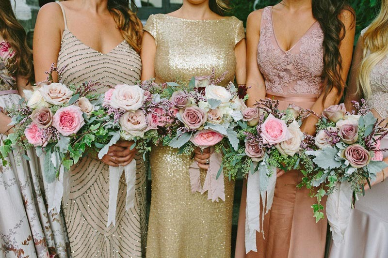Dusty Pink and Gold Bridesmaid Dresses