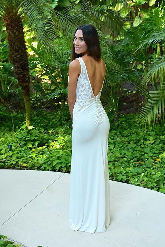 White Backless Reception Dress