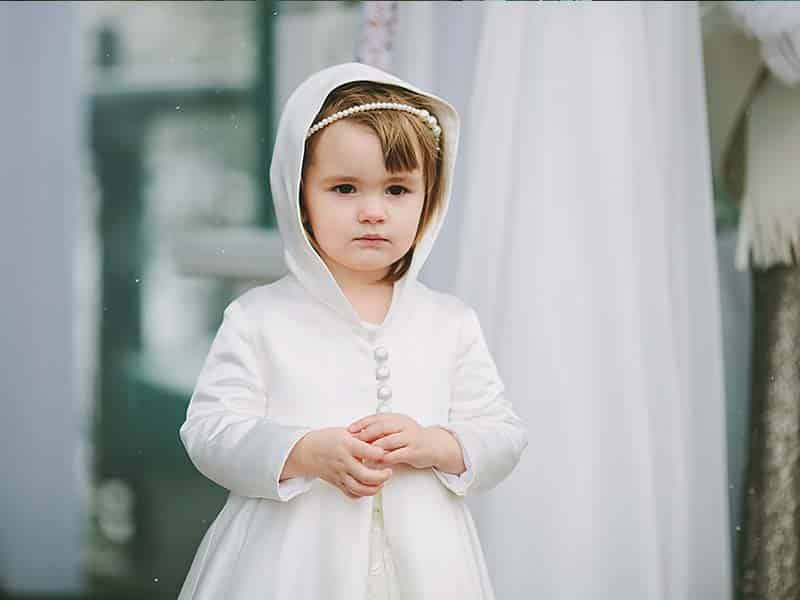 White Flower Girl Hooded Cloak